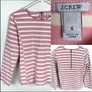 J Crew top. Pink and cream striped. Back zip